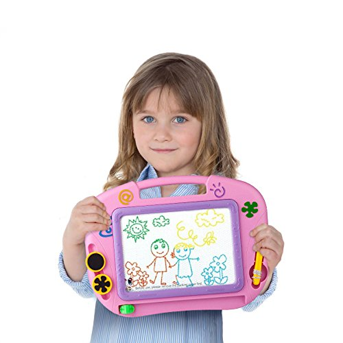 Kidolino Magnetic Drawing Board Kids Magna Doodle Erasable Sketching Pad with 2 Stamps and 1 Pen - Pink by Kidolino