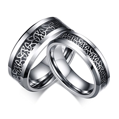 6mm and 8mm Lovers Tungsten Ring Engagement Wedding Band Ring with White-Plated Celtic Knot Triquetra over Black Carbon Fiber Inlay for Couples
