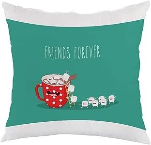 friends forever Printed Pillow, white velvet Fabric 40X40 cm