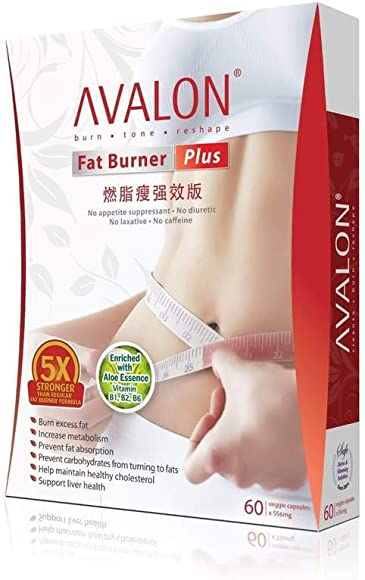 Avalon Fat Burner Plus with Probiotics Improved Formula for More Effective Safe Slimming Halal Certified, Suitable for Vegetarians 60 Capsules