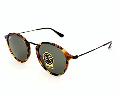 ray ban havana spotted round sunglasses  ray ban round rb 2447 1157 49mm spotted black havana frame / green lens