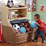 Lift and Hide Bookcase Storage Chest, Blue, Holds books up to 10'' High, Includes a Large Display Shelf for Toys, Permanently Attached Lid Slides Up and Stays Out of the Way, BONUS FREE E-book