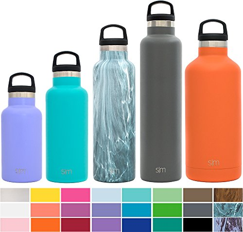 Simple Modern 16 Ounce Ascent Water Bottle - Vacuum Insulated Narrow Mouth Cute Girls Thermos 18/8 Stainless Steel Teal Swell Flask - Double Walled Hydro Travel Mug - Caribbean
