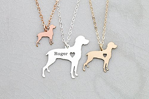 14k Ships (Weimeraner Dog Necklace - IBD - Viszla Personalize with Name or Date - 935 Sterling Silver 14K Rose Gold Filled Charm - Ships in 1 Business Day)