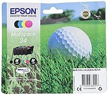 Epson T3466 4-colours Multipack ink, C13T34664010 válido para EPSON WorkForce Pro WF-3720DWF / WF-3725DWF, Ya disponible en Amazon Dash Replenishment