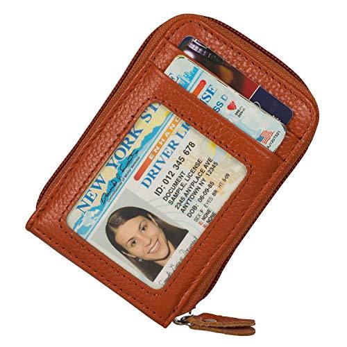 Noedy RFID Blocking Credit Card Case Organizer Genuine Leather Zip-Around Security Wallet - Leather Card Holder Womens