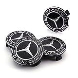 DIYcarhome Mercedes Benz Wheel Center Hub Caps, 75mm/3 Inch,Black Best Stylish Finish Cover Logo Fit for Mercedes Benz C ML CLS S GL SL E CLK CL GL (4Pcs)