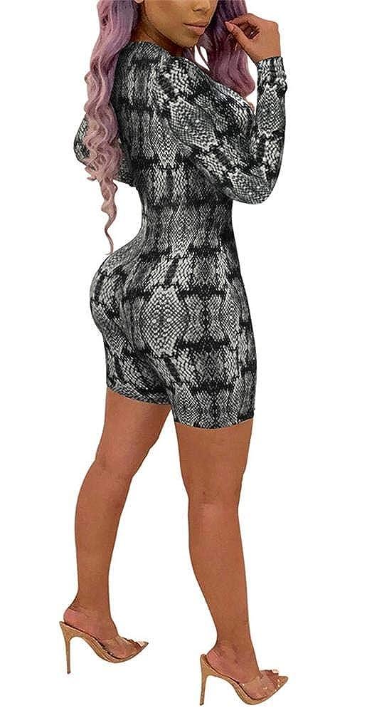 225e484b046 Amazon.com  LKOUS Women Fall Sexy Faux Snakeskin Print Deep V Neck Long  Sleeve One-Piece Bodycon Jumpsuits Bodysuit Romper  Clothing