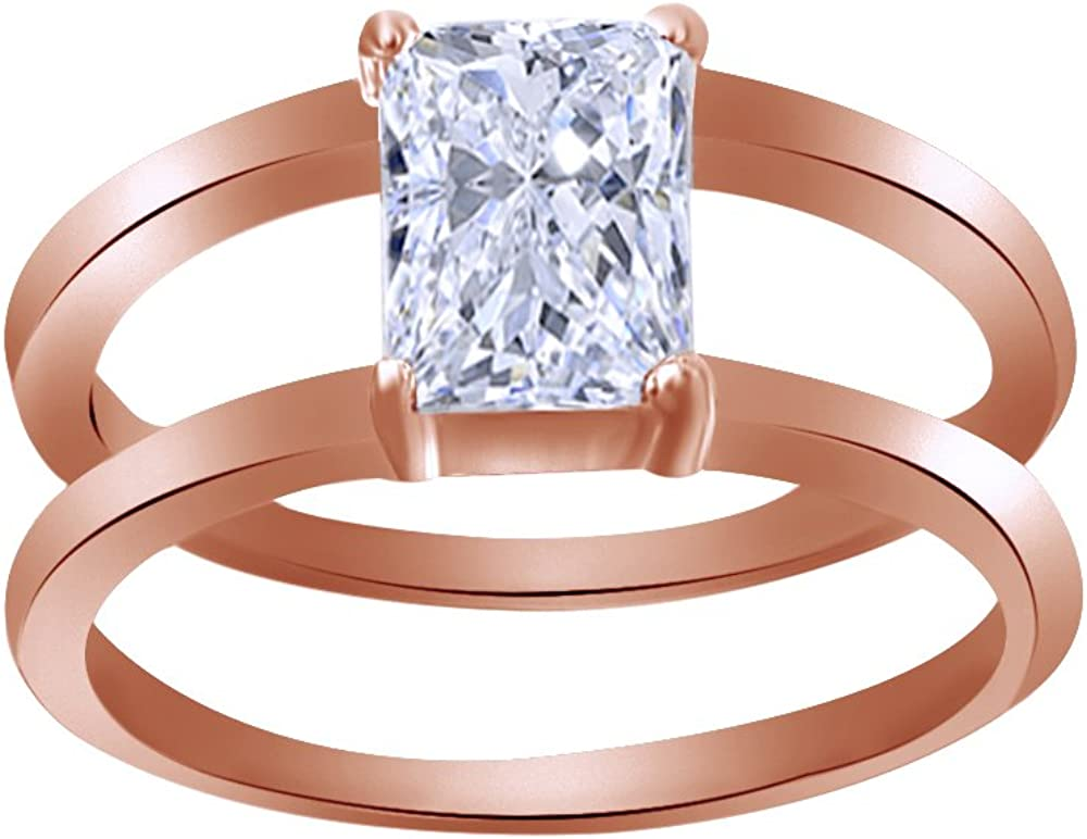 3.2 Carat White Cubic Zirconia Stone Two Tone Solid 9k Yellow Gold /& 925 Sterling Silver Spinner Ring Set Setting