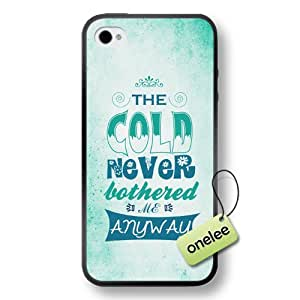 Disney Frozen Quotes Soft Rubber(TPU) Phone Case & Cover for iPhone 4/4s - Black