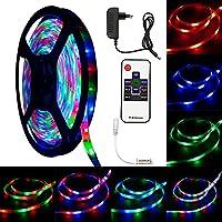 LED Streifen, Lendoo LED Stripe 5M SMD 3528 RGB 300LEDs Farbwechsel Wasserdicht Regenwasser, Inklusive Netzteil & RF Fernbedienung und 10 Tasten & LED Lichtband, Deko, Weihnachten, Party