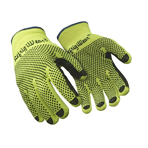 RefrigiWear Midweight Knit Double Sided PVC Dot Grip Work Gloves, Pack of 12 Pairs (High Visibility Lime, ()