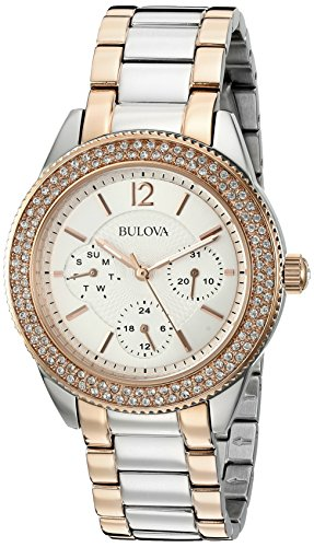 Ladies Bulova Two Tone Bangle Watch - Bulova Women's 98N100 Multi-Function Crystal Bracelet Watch