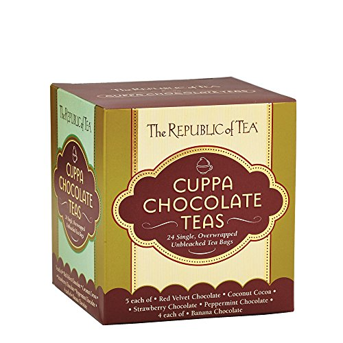 (The Republic of Tea Cuppa Chocolate Tea Assortment, 24 Tea Bags, Low Calorie Chocolate Dessert Tea)