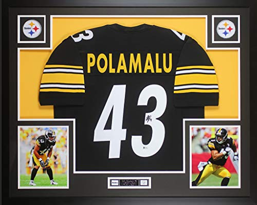 Troy Polamalu Signed Jersey - Troy Polamalu Autographed Black Pittsburgh Steelers Jersey - Beautifully Matted and Framed - Hand Signed By Troy Polamalu and Certified Authentic by Beckett - Includes Certificate of Authenticity