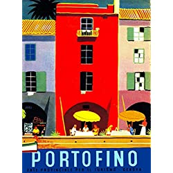 Portofino Genoa Italia Italy Italian Vintage Travel Advertisement Art Poster Print. Poster measures 10 x 13.5 inches
