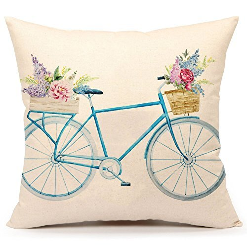 Spring Floral Pillow - Decorbox Spring Flower Floral Bicycle Pattern 18x18 Inch Cotton Linen Square Throw Pillow Case Decorative Durable Cushion Slipcover Home Decor Standard Size Accent Pillowcase Encasement Slip Cover