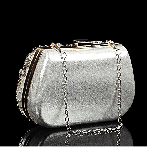 embrayage main à bourse mariage sac 18 luxueux dame de diamant x silver soirée de 13 fête cm sac mariée 7nqOI