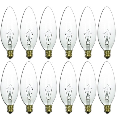 European Base - Sunlite 25CTC/32/E14/12PK 25W Incandescent Torpedo Tip Chandelier with Crystal Clear Light Bulb and European E14 Base (12 Pack)