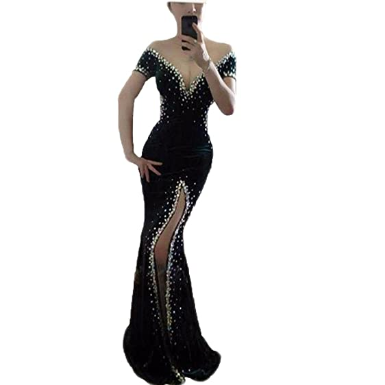 Kmbridal Sexy Mermaid Prom Dresses Long Backless Split Side Velvet Formal Evening Party Dresss Beading