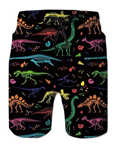 Alistyle Mens Bathing Suits Summer 3D Dinosaur Print Beach Shorts Quick Dry Underwear Swim Trunks XL