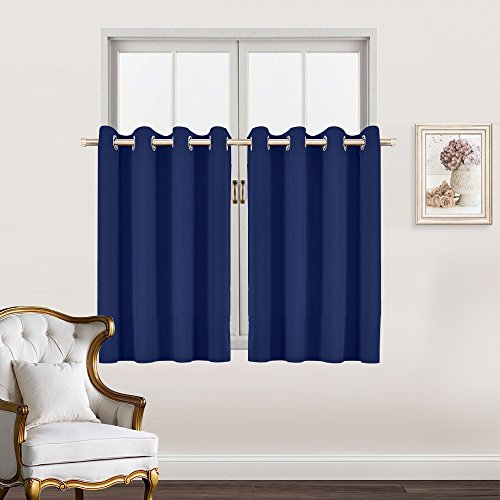 Living Room Blackout Valance Tiers - RYB HOME Decoration Curtain Panels Privacy Protected Noise Reduce for Window Dressing / Room Darkening, 52