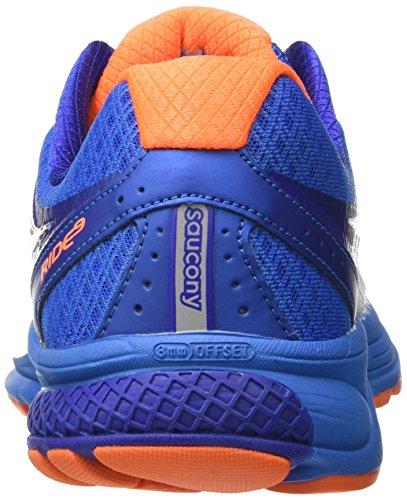 Saucony Men's Ride 9 Running Shoes, Silver/Black/Lime, D(M) US Bianco (White/Blue/Orange)