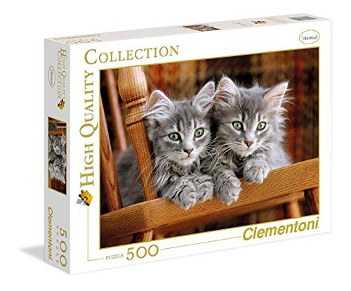 (Clementoni Two Gray Kittens Jigsaw Puzzle, 500 pieces, Made in)