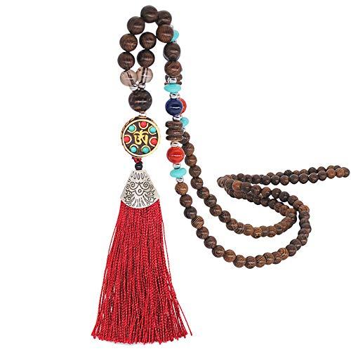 HoneySheep Fashion Wooden Beads Tassel Pendant Necklace,Handmade Knotted Necklace,Unisex