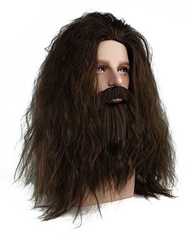 (Rubeus Hagrid Wig Long Curly Brown Hair and Beard Halloween Cosplay)