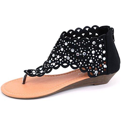 Women T Strap Rhinestone Party Wear Gladiator Roman Flat Sandals Shoes Black EhcBC4yjz