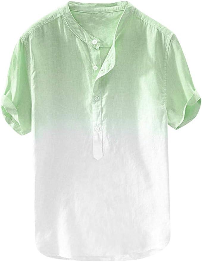 ZODOF Camisa Hawaiana con Estampado de Lino y algodón de Manga ...
