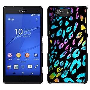 Patrón ultravioleta Piel Leopardo Negro Azul - Metal de aluminio y de plástico duro Caja del teléfono - Negro - Sony Xperia Z4v / Sony Xperia Z4 / E6508