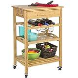 Kitchen Island with Storage Rolling Bamboo Kitchen Island Storage Bakers Cart Wine Rack W/ Drawer & Shelves