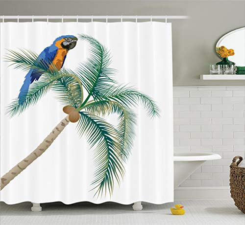 (Ambesonne Parrots Decor Shower Curtain Set, Big Parrot Sitting On Coconut Palm Tree Talkative Character of Exotic Design, Bathroom Accessories, 69W X 70L inches, Green White)