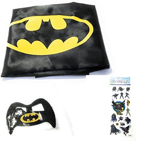Superhero CAPE & MASK SET Children's Halloween Costume.With Batman and Superman Stickers