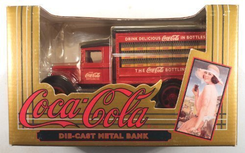 (Coca-Cola Vintage Red Bottle Truck Coin Bank)