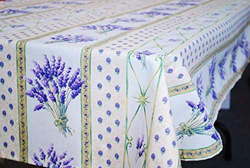 Coated Tablecloth - Le Cluny, Lavender Creme (Lavande, Cream) French Provence 100 Percent COATED Cotton Tablecloth, 52 Inches x 72 Inches