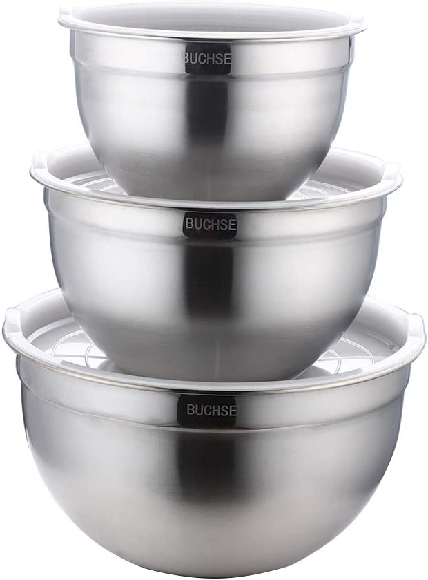 Mixing Bolws,With Lids Set of 3,Stainless Steel Stackable Nesting Kitchen Bowls for Cooking,Baking, Food Storage, Dishwasher Safe