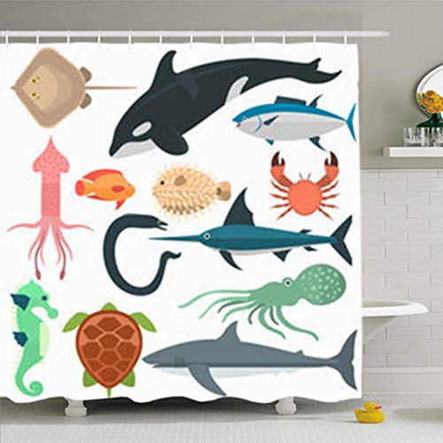 GisRuRu Shower Curtains Bathroom 72 x 78 Inches Life Sea Wild Different Fishes Ocean Whale Turtle Dolphin Squid Fish Sword Octopus Waterproof Fabric Bath Set Hooks