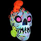 Gemmy 45.28 in. W x 48.03 in. D x 72.05 in. H Inflatable Light Show Skull with Spiders - Kaleidoscope