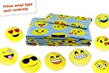 Emoji Bed in a Bag Set Fabugears Emoji Fun Sheet Set Comes With Plush Round 13 Inch Yellow Pillow Emoticon - 3 Piece (LIGHT BLUE, Twin size)