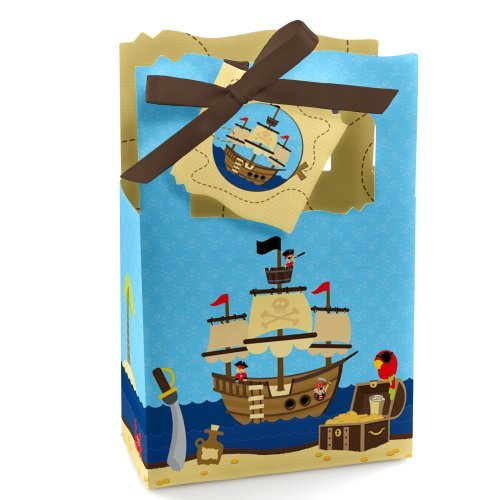Ahoy Mates - Pirate - Baby Shower or Birthday Party Favor Boxes - Set of 12