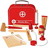 Dragon Drew Wooden Doctor Kit for Kids, Pretend Doctor Kit for Kids, Medical Kit for Toddler, Pretend and Play Tools (10 PC Set)