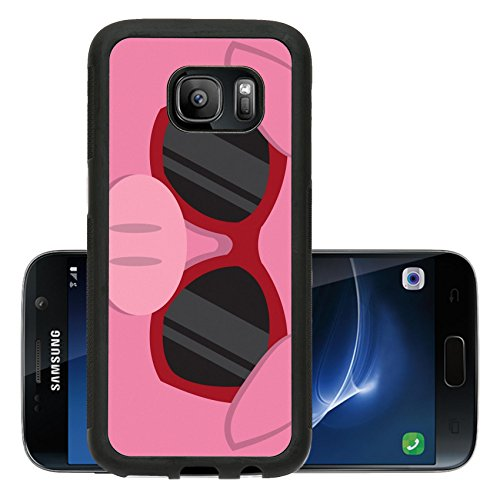 Liili Premium Samsung Galaxy S7 Aluminum Backplate Bumper Snap Case IMAGE ID: 18010975 Cartoon pig head with - Cartoon With Character Sunglasses