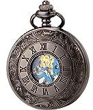 SEWOR Vintage Blue Roman Flower Numerals Mens Pocket Watch Classic Black