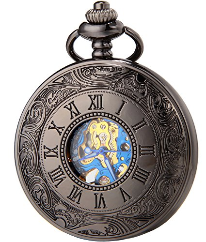 SEWOR Vintage Blue Roman Flower Numerals Mens Pocket Watch Classic Black by SEWOR