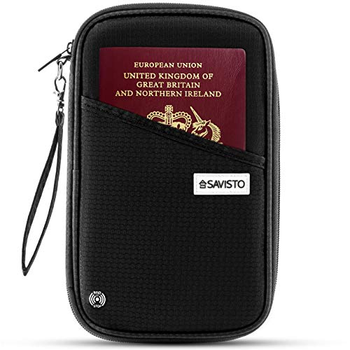 Savisto Multi-Purpose Travel Wallet Organiser | RFID Blocking Passport & Document Holder Inc. Slots & Compartments for Credit Cards, Boarding Passes, Tickets, Keys, Cash & More - Nylon