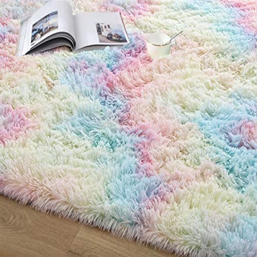 51lMVwrLDmL. AC - Junovo Soft Rainbow Area Rugs For Girls Room, Fluffy Colorful Rugs Cute Floor Carpets Shaggy Playing Mat For Kids Baby Girls Bedroom Nursery Home Decor, 4ft X 6ft