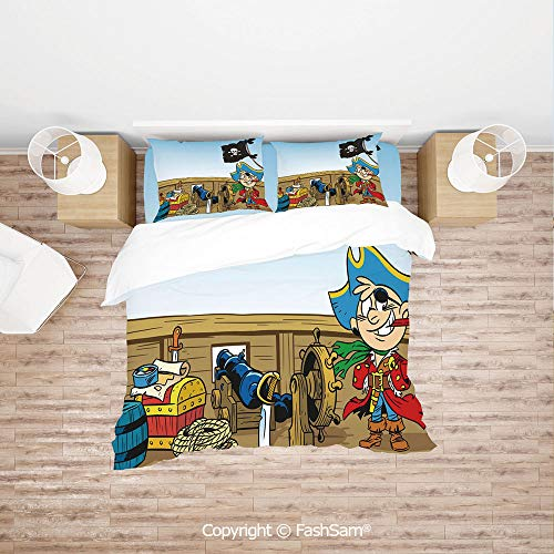 FashSam Luxury 4 Pieces Duvet Cover Bedding Set Funny Pirate Boy Kid on Ship Deck Journey Dangerous Adventure in Unknown Waters Decorative for Family(Single)
